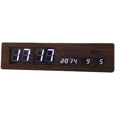 電波時計 置掛兼用 LEDクロック アスカリ ウッド(茶色)