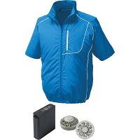 空調服 ポリエステル製半袖空調服リチウムイオン大容量バッテリーセットブルーM 1720G22C04S2