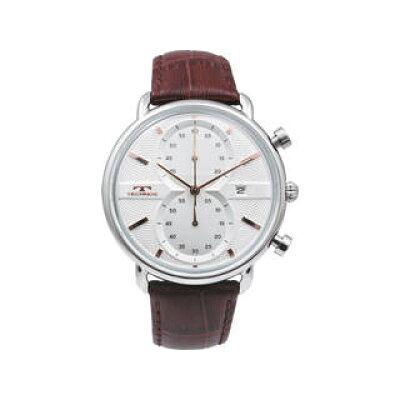 テクノス テクノス レザーベルトクロノグラフメンズ腕時計 シルバー T6445SS