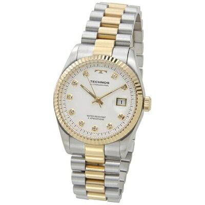 Technos  デイト 5気圧防水 クリアストーン10P ホワイト×ゴールド メンズ 腕時計 T9455TW