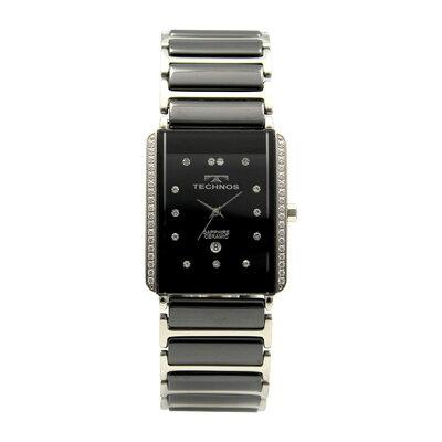 テクノスTECHNOS:A時計テクノスTECHNOS/テクノス T9557TB セラミック&ステンレス 3針パヴェベゼル 腕時計 メンズ ブラック