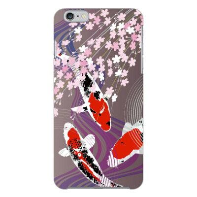 スマートフォンケース  鯉と桜   パープル    COLOR STAGE /    iPhone 6 Plus/Apple