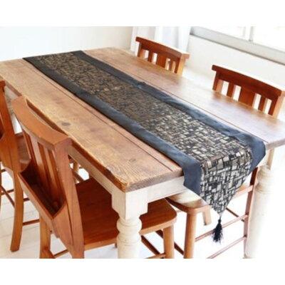 かわ畑 テーブルランナー 180×33cm ブラック&ゴールド 1608WUJ002 1248923