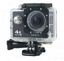 アクションカメラ WiFi対応 4K 超高画質  800万画素 ブラック(黒)
