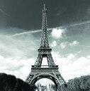 福美康  FUMEIKANG シャワーカーテン エッフェル塔 フランス パリ モノトーン 180 x 180 cm
