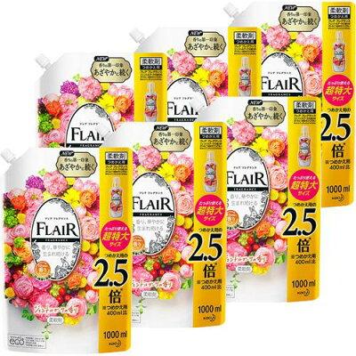 フレア フレグランス 柔軟剤 ジェントル&ブーケ つめかえ用 超特大サイズ 梱販売用(1000ml*6個セット)