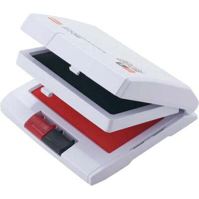 MAX マックス瞬乾2段式ワンタッチスタンプ台 油性顔料 中形 黒/赤 紙箱入 SA-212NWカミバコ