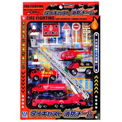 ダイキャスト 消防チーム 火災現場で活躍する消防車両と標識の おもちゃ