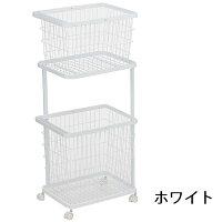 ランドリーワゴン + ランドリーバスケット タワー ホワイト 洗濯かご 2段 ラック
