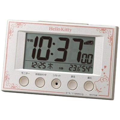 リズム時計 電波デジタル目覚まし時計 ハローキティR166 8RZ166MB03