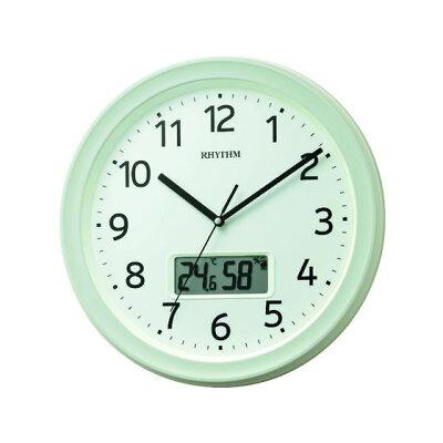 リズム時計 RHYTHM 温度・湿度計付電波掛け時計 フィットウェーブリブA02 8FYA02SR03
