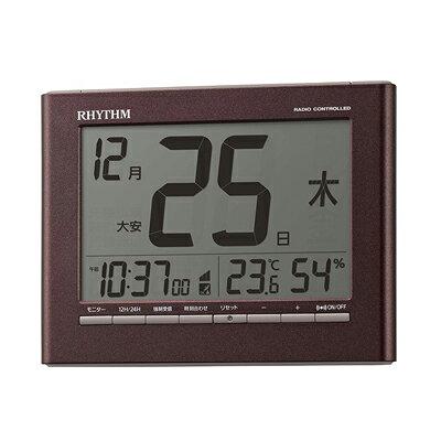 RHYTHM 電波目覚まし時計 掛置兼用 カレンダー付 フィットウェーブカレンダーD208