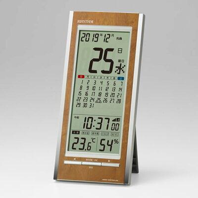 RHYTHM デジタル電波時計 フィットウェーブカレンダーD219 8RZ219SR23 茶色木目仕上