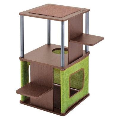ネココ コーナーや壁ぎわに置きやすい キャットリビングタワー ロータイプ(1コ入)