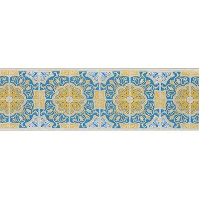 デコルファ インテリアマスキングテープ 100mm タイル ブルーY M3709(1巻)