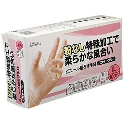 ダンロップホームプロダクツ 粉なしビニール極うす手袋 100枚入 L