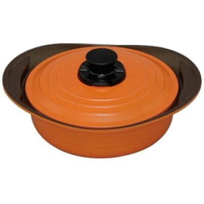 IH対応 キッチンシェフ 無加水鍋 24cm 浅型 オレンジ MKS-P24S(1コ入)