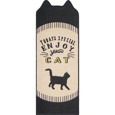 Nekosulu? インテリアマット 45*120 Enjoy Cat ベージュ(1枚入)