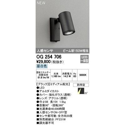オーデリック OG254706 LED エクステリアスポットライト 防雨 人感センサ付