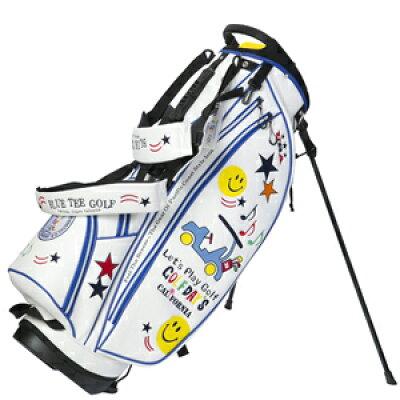 ブルーティーゴルフ BLUE TEE GOLF 2018 合皮カートスタンドキャディバッグ スマイル&カート ホワイト×ブルー CB008