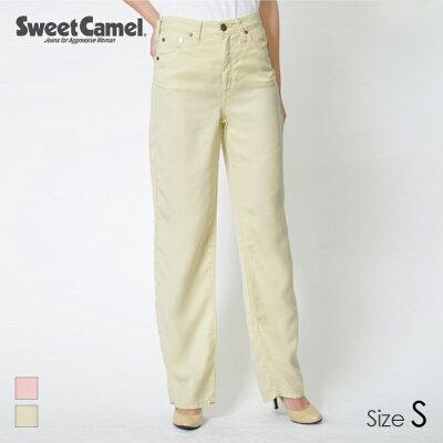 Sweet Camel/スウィートキャメル テンセル とろみ ワイドストレートパンツ 42 シャーベットイエロー/サイズS SJ7514