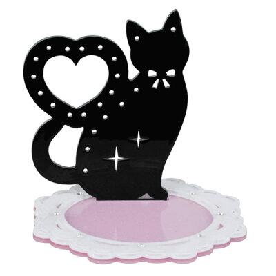 黒猫 アクセサリースタンド (アクセサリーホルダー) ブラック ハート