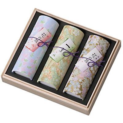 煙がすくない進物線香 (花くらべ(桜・一葉・紅梅)) 短寸3筒詰 桐