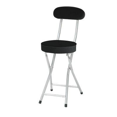 【P-folding chair】合皮レザー折り畳み背付きチェア座高さ500mm(ブラック)