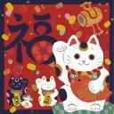 開運ふろしき 招き猫 まねきねこ 開運ちりめん友禅浮世絵ふろしき  製