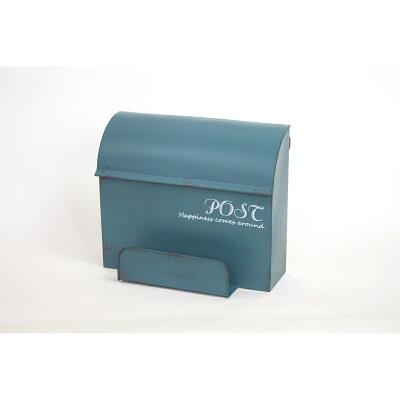 アンティーク調 壁掛けポスト ポスト ブルー アイアンポスト メタルポスト