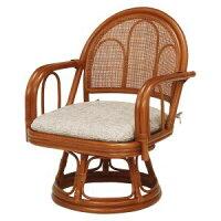 ラタン製回転座椅子 ミドルタイプ RZ-942BR