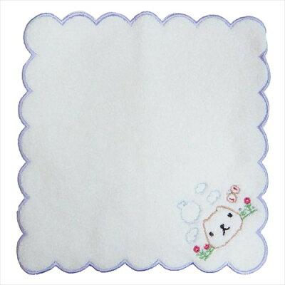 カピバラさん ミニタオル ふわふわ無撚糸 刺繍タオル じゅるり パープル ナストーコーポレーション 約20×20cm ハンカチタオル