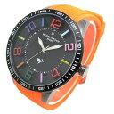 (ミッシェルジョルダン)michel Jurdain 腕時計 1Pダイヤモンド ステンレス ケース シリコン ベルト ウォッチ ブラック×オレンジ MJ-7700-3