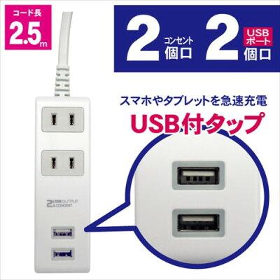TOPLAND コンセントタップ & USB充電 電源タップ M4217