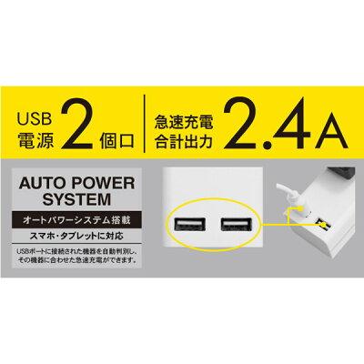 トップランド USB付き個別スイッチタップ1.5m 雷ガード付き TPC150-WT(1コ入)