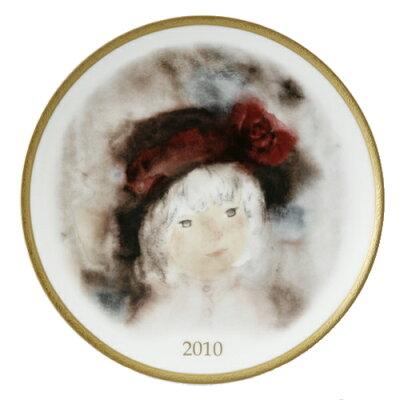 NARUMI ナルミボーンチャイナ いわさきちひろ イヤープレート2010年 『バラ飾りの帽子の少女』