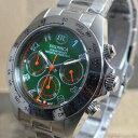 BRONICA ブロニカ メンズ 腕時計 日本製 クロノグラフ 10気圧防水 MADE IN JAPAN 文字盤カラー:グリーン BR817-GR