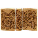 ジッポーライター: Zippo 革巻き レザー 彫刻 CHAOS ヌメ 唐草 花 3面 LWC シェリダン クラフト Leather Works