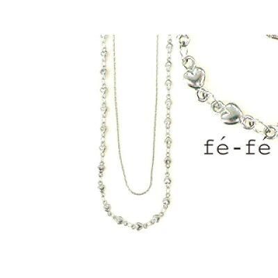f'e-f'e/フェフェ デザインチェーン2連ネックレス ステンレス