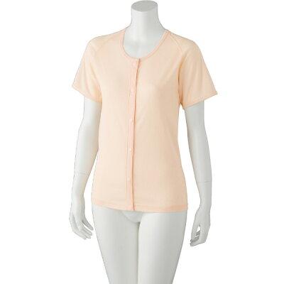 ケアファッション:吸水速乾ホック3分袖シャツ婦人 ピーチ M 89276-01