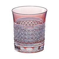 江戸切子 ロックグラス(麻の葉・金赤)