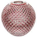 江戸切子 花瓶(八角籠目・毬型・金赤)