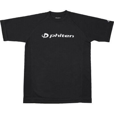 ファイテン RAKUシャツ SPORTS 吸汗速乾 半袖 ロゴ入リ ブラック ロゴ:銀  L JG167005