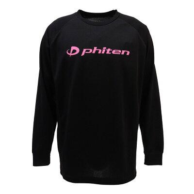 Phiten/ファイテン JG180003 RAKUシャツSPORTS 吸汗速乾 長袖 ロゴ/ピンク ブラック