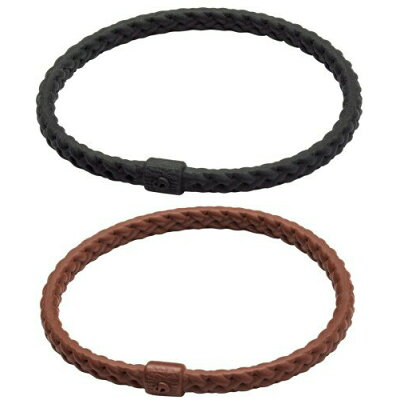 ファイテン RAKUWAブレスS レザータッチ(ブラック、ブラウン 2色セット/17cm)