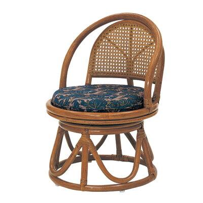 ラタン コンパクト回転座椅子 ハイタイプ HR(ブラウン)