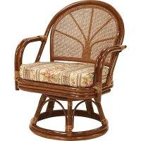 サンフラワーラタン 籐回転座椅子 C712HRJ ミドルハイタイプ ハニーブラウン