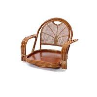 ラタン ワイド回転座椅子 ロータイプ クッションを選べるラタンチェア HR(ブラウン)
