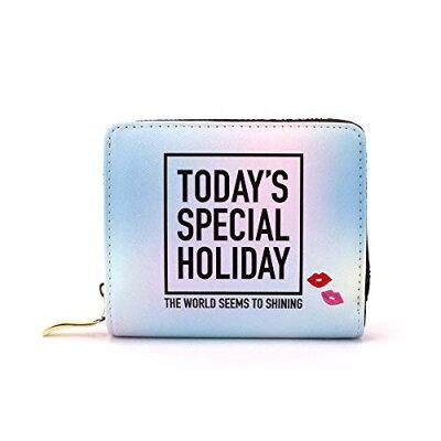 TODAY'S SPECIAL HOLIDAY レディース財布 二つ折りウォレット 英字グラデーション サンアート 12.5×10.5×3cm オルチャン系 グッズ