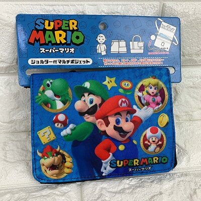 ショルダー マルチポシェット ブルー マリオ キッズ ポーチ Nintendo サンアート